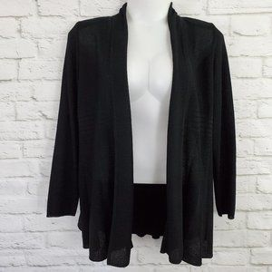 Exclusively Misook Open Front Cardigan Black 1X